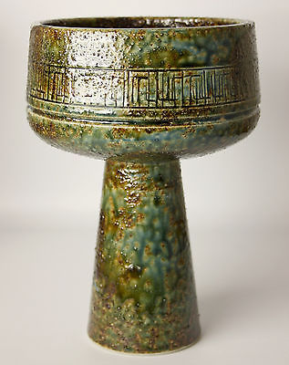 best-mid-century-modern-signed-japanese-ikebana-studio-pottery-vase-w-sgraffito-4ff73dc2316318531b967432cbaf3522