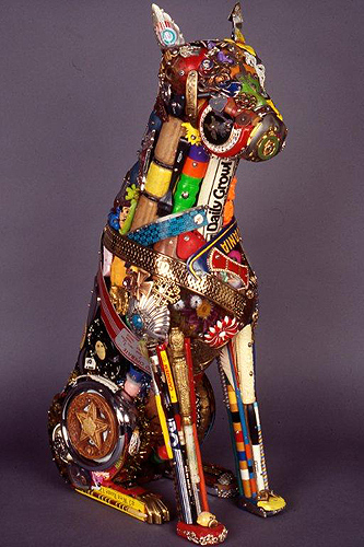 "Leo Sewell's ""Boxer"", mixed media (photo courtesy of William Benton Museum of Art)"