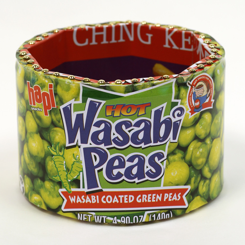 """Wasabi Peas"" Column bracelet with Nutrition Facts"